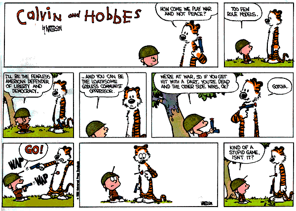 Calvin and Hobbes about war